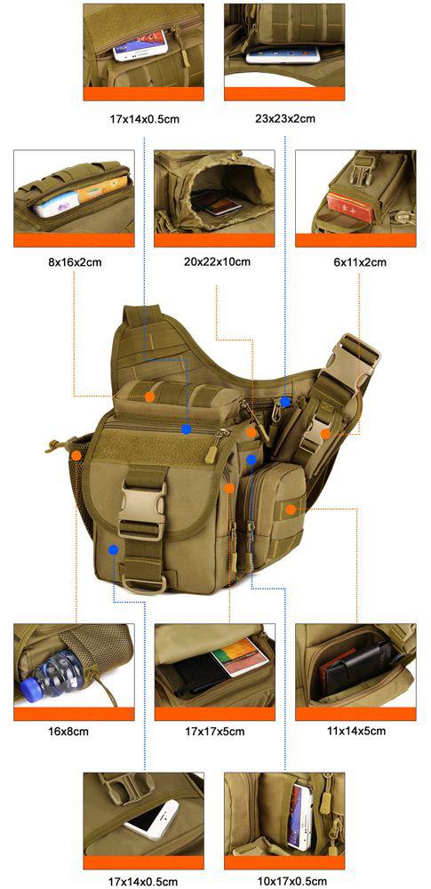 Фото внутренних и внешних карманов сумки Protector Plus K305