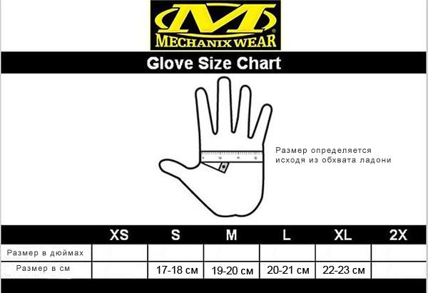 Размерная сетка для перчаток