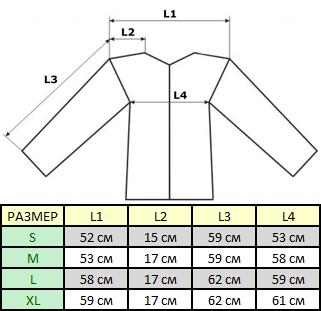 Таблица размеров тактической флисовой куртки